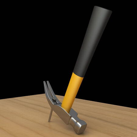 impact tool: Hammer and a nails. isolated on black background 3d illustration. high resolution