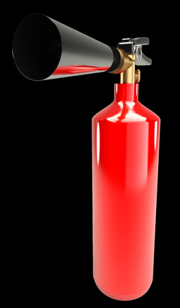 smother: Fire extinguisher. realistic. isolated on black background. 3d illustration Stock Photo
