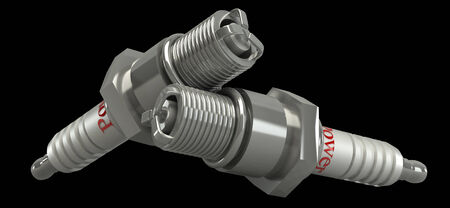 Spark Plug on black background 3d Stock Photo