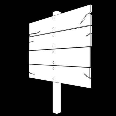 channelize: Wooden message board. isolated on black background. 3d illustration Stock Photo