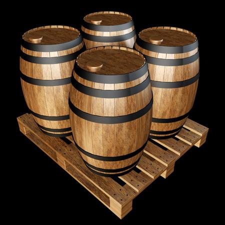 wooden barrels on wooden pallet. realistic. isolated on black background. 3d illustration illustration