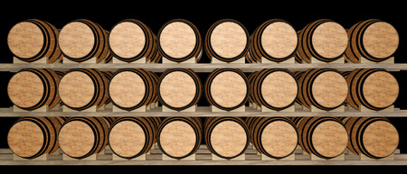 ferment: Wine barrels stacked in the old cellar of the winery. isolated on black background. 3d illustration Stock Photo