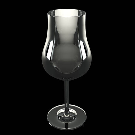 bar ware: wine glass, realistic. isolated on black background. 3d illustration
