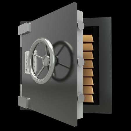 bank vault, safe. realistic. isolated on black background. 3d illustration