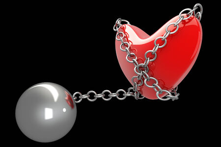 fetter: Heart in chains and shackles. isolated on black background. 3d illustration