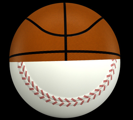 outfielders: concept, a basketball and baseball ball. isolated on black background. 3d illustration