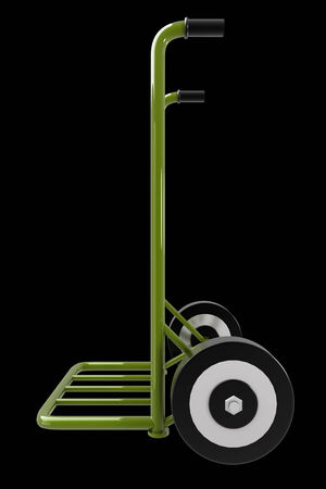 trolley case: Hand truck. isolated on black background 3d illustration. high resolution