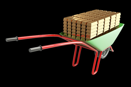 wheel barrow: Gold bars in a wheelbarrow. isolated on black background 3d illustration. high resolution