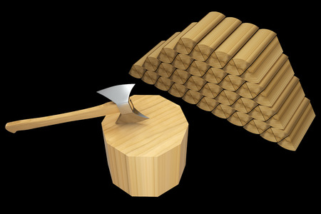 axe in a wooden stump. isolated on black background 3d illustration. high resolution illustration