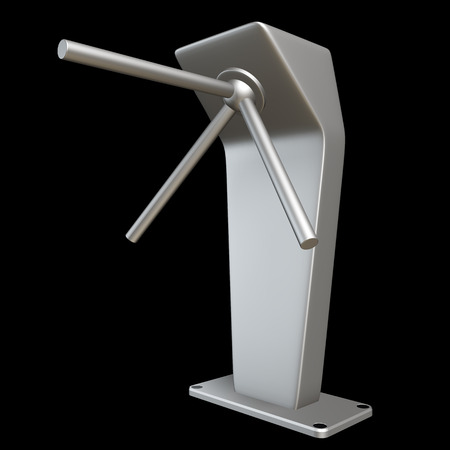 metallic turnstile. isolated on black background 3d illustration. high resolution illustration