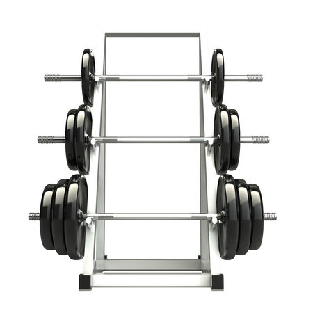 Dumbbells on a rack for storing vultures. 3d. isolated on white background photo