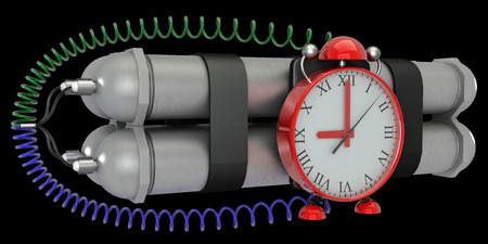 Bomb with clock timer isolated on black background. 3D image photo