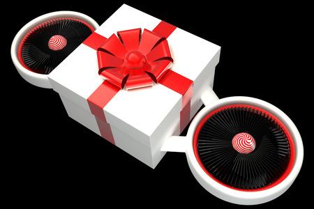 turbine engine: Concept. gift box, two turbine engine. isolated on black . 3d illustration Stock Photo