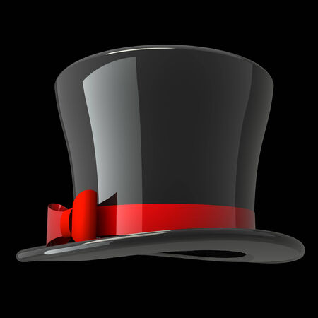 top hat. isolated on black background. 3d illustration Stock Photo