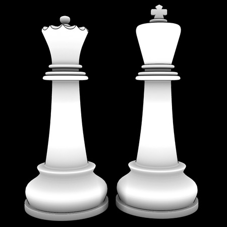 King and Queen chess isolated on black background 3d render photo