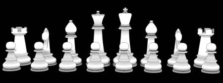 piecies: Chess figure. isolated black background. 3d Stock Photo
