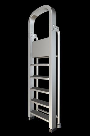 metal ladder. isolated on black background. 3d illustration illustration