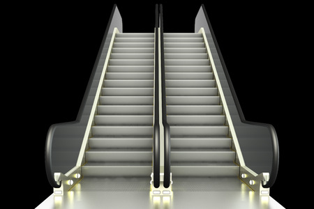 rapid steel: escalator. isolated on black background. 3d illustration Stock Photo