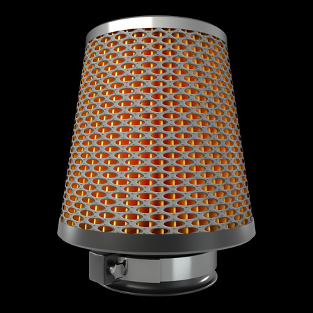 high torque: Air cone filter. isolated on black background. automobile accessory. 3d.