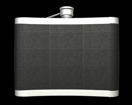 hip flask: hip flask. isolated on black background. 3d illustration