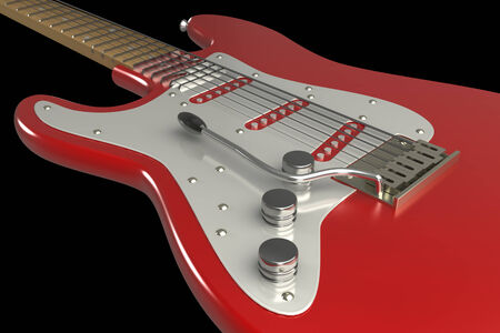 electric guitar. isolated on black background. 3d illustration illustration