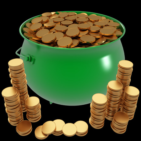 Pot of gold coins. isolated on black background. 3d illustration illustration