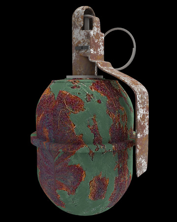 handgrenade: grenade. isolated on black background. 3d