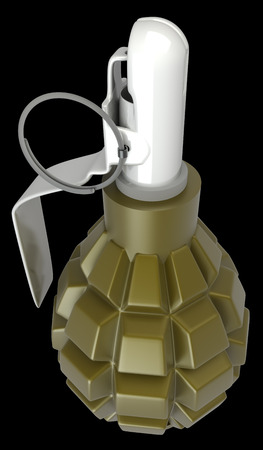 grenade. isolated on black background. 3d photo