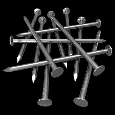 to pierce: a nail. isolated on black background 3d illustration. high resolution