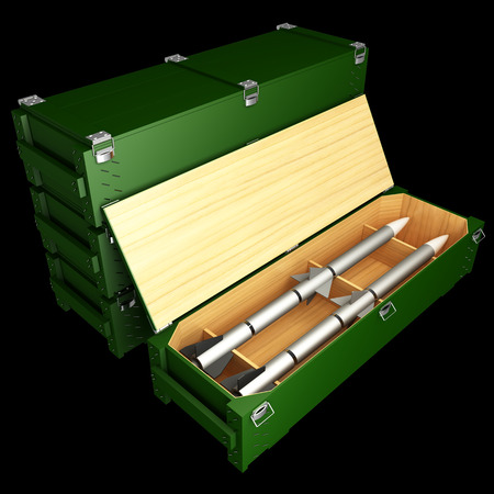 Military combat missiles box. Isolated on black background. 3d Stock Photo