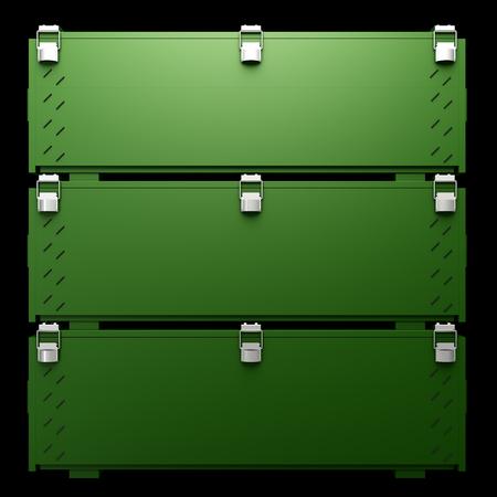 ammo: Military box of ammunition. isolated on black background. 3d