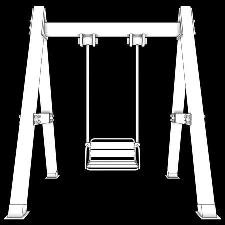 Wooden Swing. isolated on black background. 3d illustration