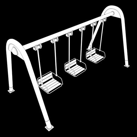 yard furniture: Swing. isolated on black background. 3d illustration