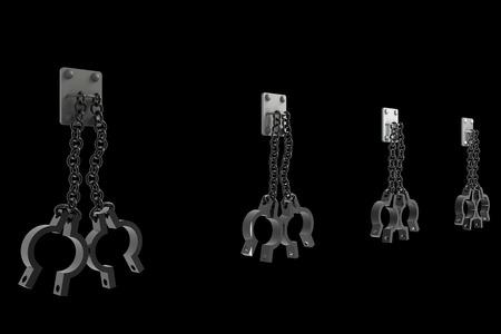 old shackles. isolated on black background. 3d illustration illustration