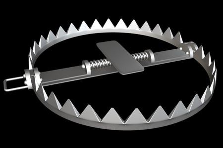 shackles: bear trap. isolated on black background. 3d illustration