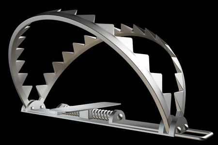bear trap. isolated on black background. 3d illustration