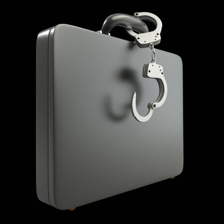 Black case with handcuffs. realistic. isolated on black background. 3d illustration illustration