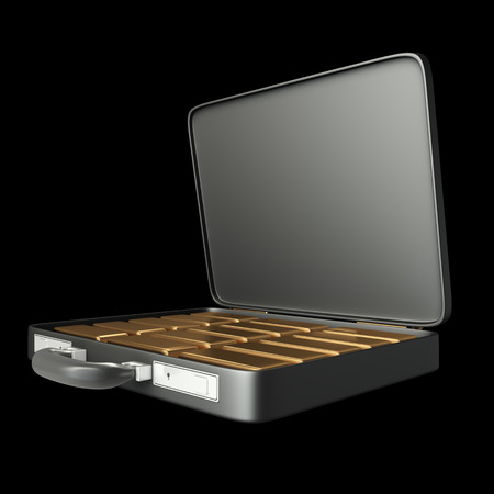 Case of with gold bars, wearing handcuffs. realistic. isolated on black background. 3d illustration illustration