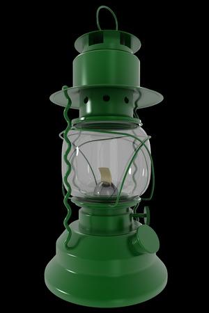 scintillating: Kerosene lamp. realistic. isolated on black background. 3d illustration