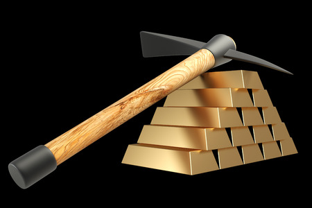 pickaxe: pickaxe lies on gold bullion. isolated on black background 3d illustration. high resolution