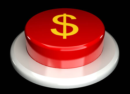 The red button, dollar, isolated on a black background 3d Stock Photo
