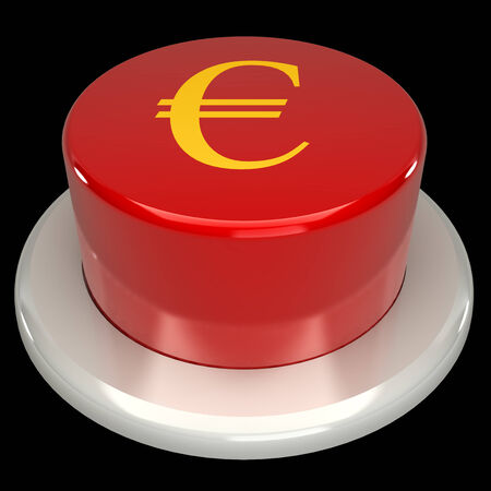 commencing: The red button, the euro, isolated on a black background 3d Stock Photo