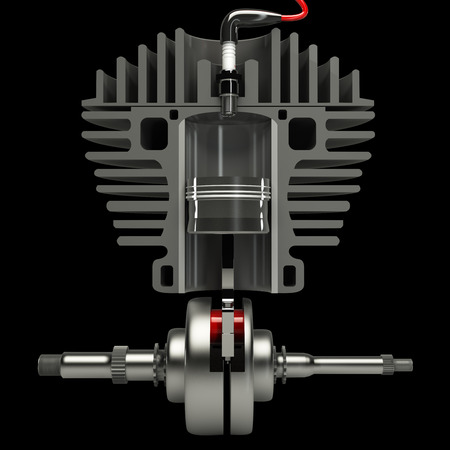 incision: engine in incision, isolated on black background, 3d Stock Photo