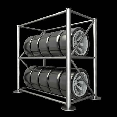 car tires on a rack. illustration. black background. 3d illustration