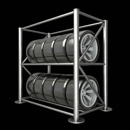 car tires on a rack. illustration. black background. 3d illustration