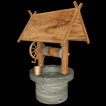 Old Water Well With Pulley and Bucket. isolated on black background 3d illustration. high resolution illustration