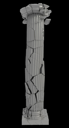 Ruined Roman columns of marble. realistic. isolated on black background. 3d illustration illustration
