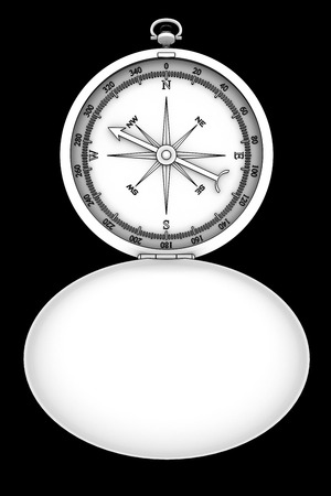 Compass. isolated on black background. 3d photo
