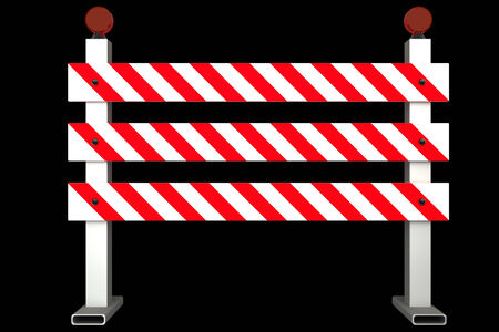 roadblock: Road Closed Sign. isolated on black background 3d illustration. high resolution