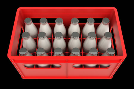 milkman: Milk bottle in a plastic box. realistic. isolated on black background. 3d illustration